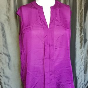 Coldwater Creek 1X purple top hidden buttons used